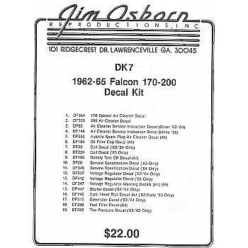 1962 1965 DECAL KITS 170 200 CU IN 16 PIECES 12p959