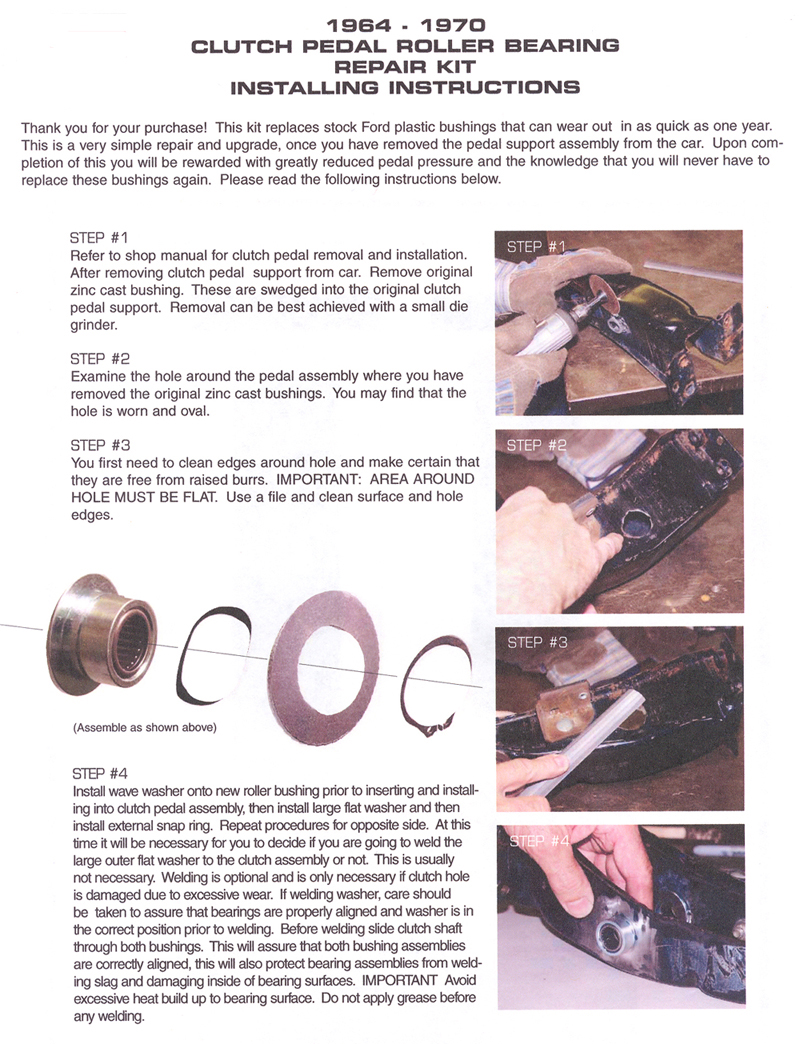 Clutch Pedal Repairt Kit Installation Instructions