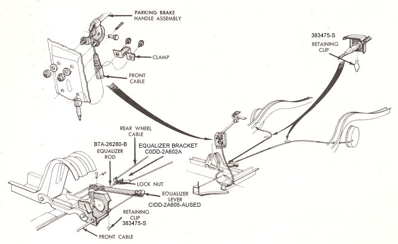 Parking Brake Diagram D23 on 1966 ford falcon steering column